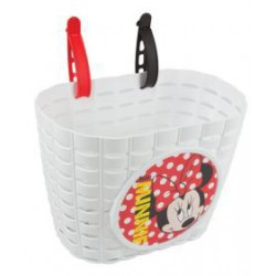 Kinder fietsmand Minnie Mouse wit