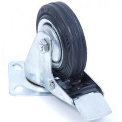 Zwenkwiel 75 mm met rem en rubber band