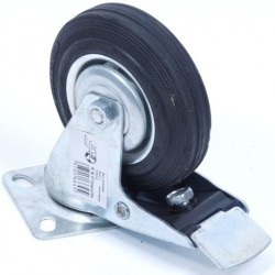 Zwenkwiel 125 mm met rem en rubber band