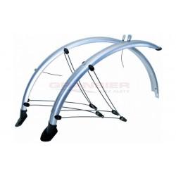 Spatbordset fiets 28 inch PVC zilvergrijs 45mm