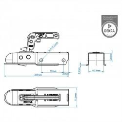 Koppeling aanhanger vierkant 60mm 800kg